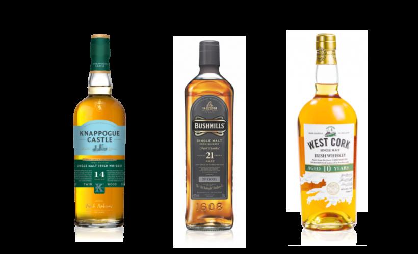 Single malt Irish whiskeys