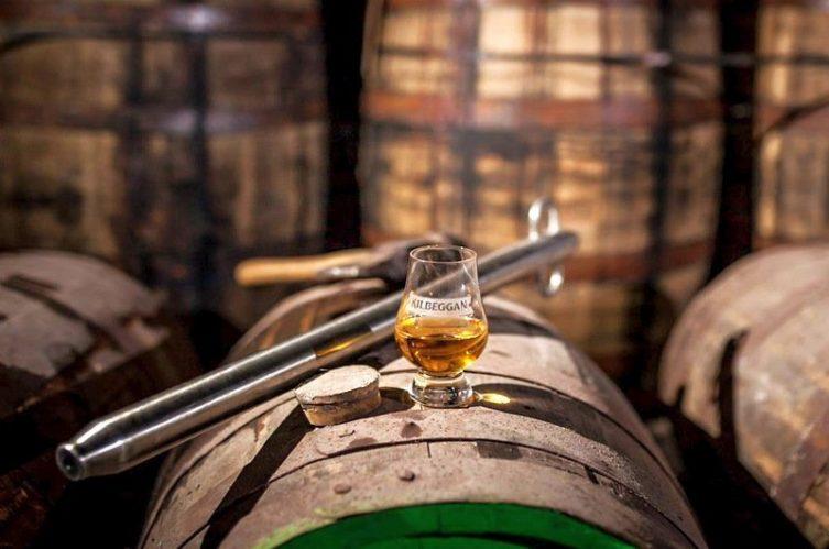 Irish Whiskey Magazine - Kilbeggan Distillery - Glass on a cask