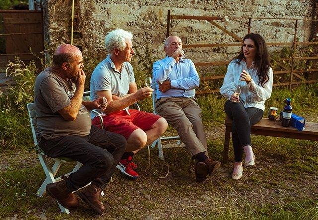 Biodynamic farmers John McDonnell, Trevor Harris, and Alan Mooney alongside Waterford Whisky Agronomist Grace O'Reilly